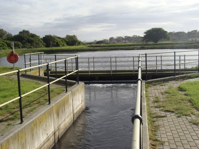 Treated effluent used for irrigation of crops, Western Cape, South Africa.