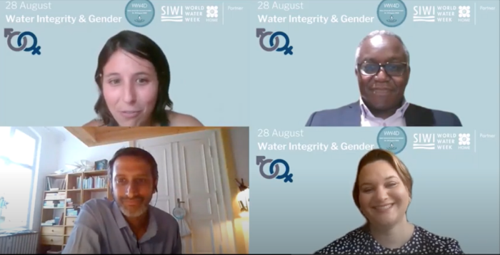 #WW4D webinar on climate finance with (clockwise from top left) Fanni Zentai, GIZ as moderator, Ibrahim Pam, GCF-IIU, Rennie Valladares Alcerro, CABEI, Binayak Das, WIN